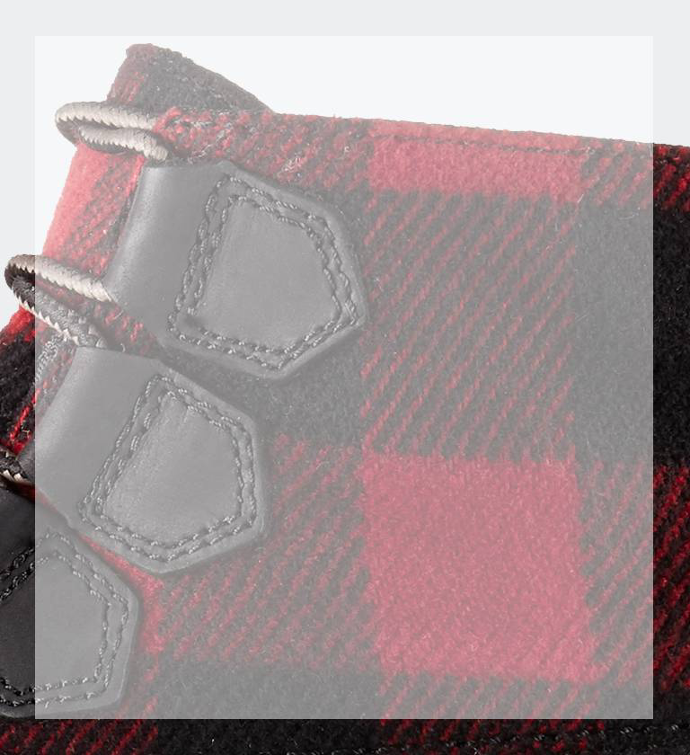Close-up of red and black buffalo check design on a SOREL boot.