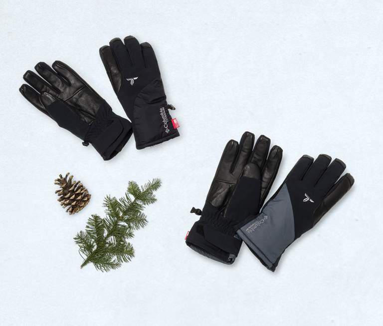 Black and gray ski gloves.