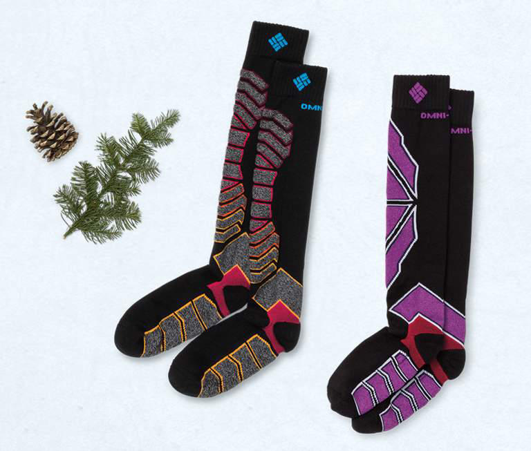 Multi-colored ski socks.