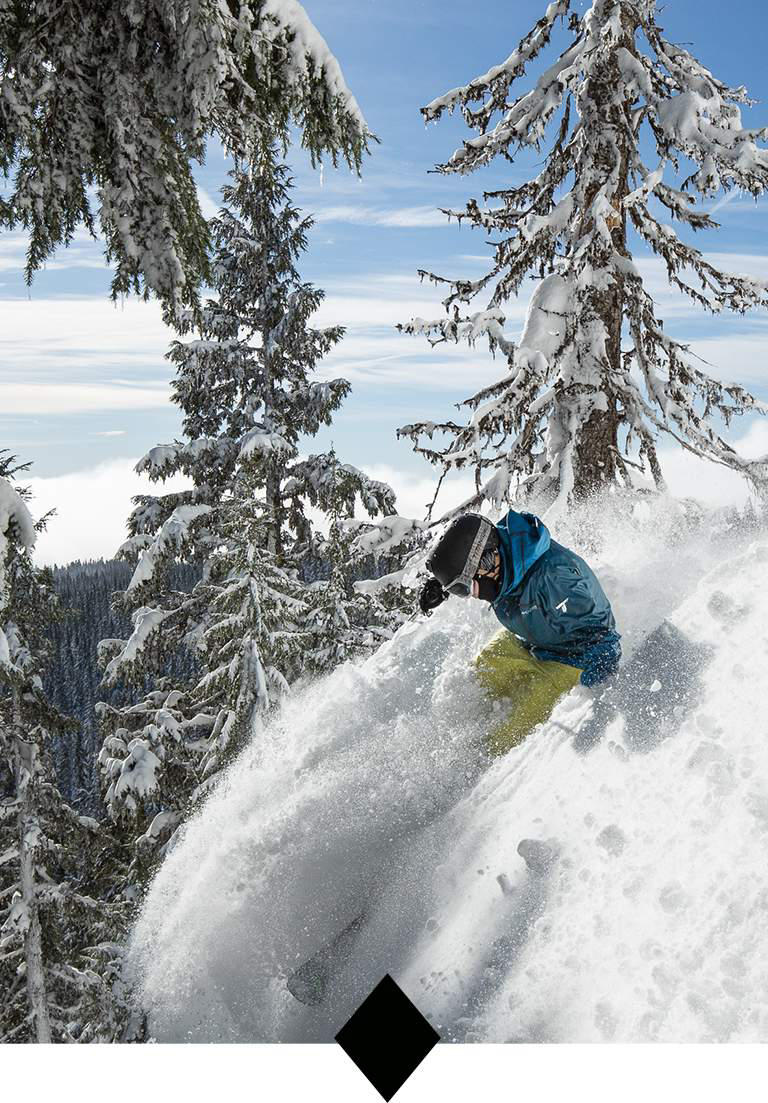 A man in blue jacket skiing through powder.