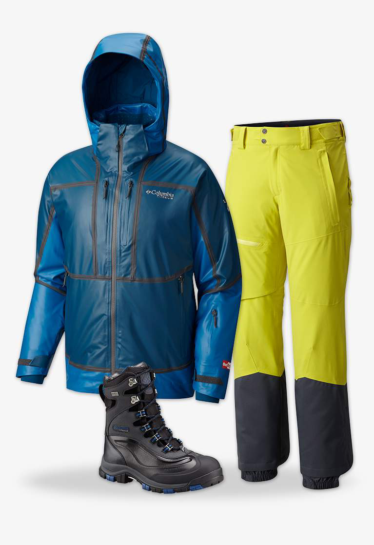 Close-up collage of a men's blue OutDry Ex Mogul Jacket,  yellow and black men's Powder Keg pants, and the men's Bugaboot Plus Titanium Omni-Heat OutDry boot in black with blue accents.