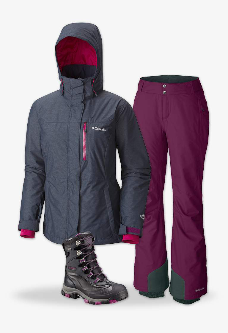 Close-up collage of a women's gray Alpine Action Omni-Heat Jacket,  purple and gray women's Bugaboo Omni-Heat Insulated Snow Pants, and the women's Bugaboot Plus Titanium Omni-Heat OutDry boot in black with purple accents.
