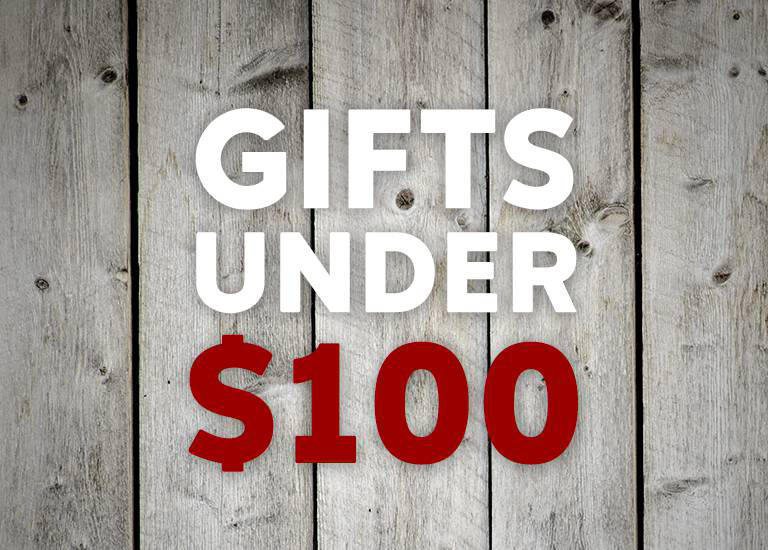 """Gifts under $100,"" wood grain."