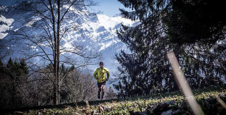 A UTMB trail runner in the Alps, video link.