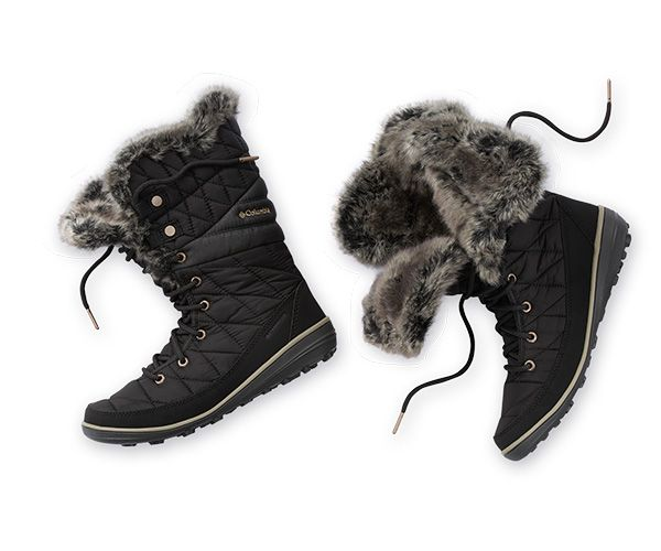 Close-up of winter boots for women.