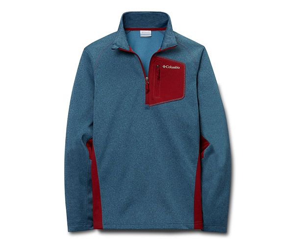Close-up of a Columbia fleece long-sleeve pullover.