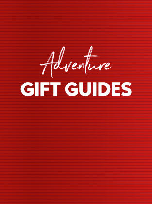 Red ribbon background with Adventure Gift Guides.