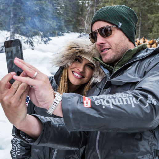 Justin and Chrishell Hartley take a selfie in the Alaska wilderness.