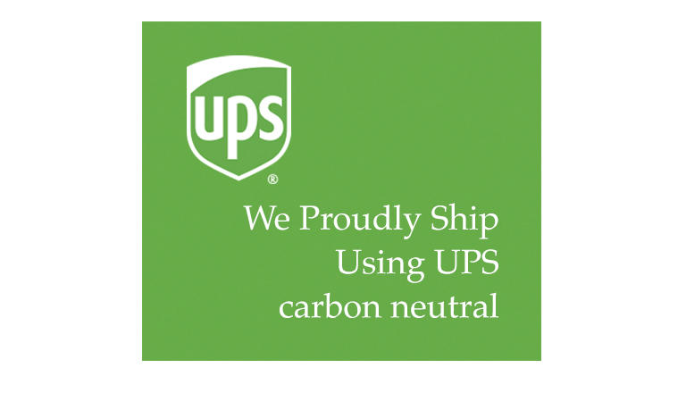 "UPS logo and message ""We proudly ship using UPS carbon neutral."""
