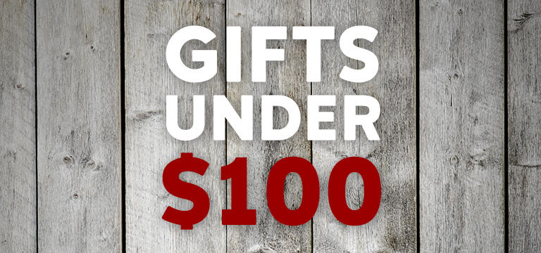Gifts Under $100, wood grain.