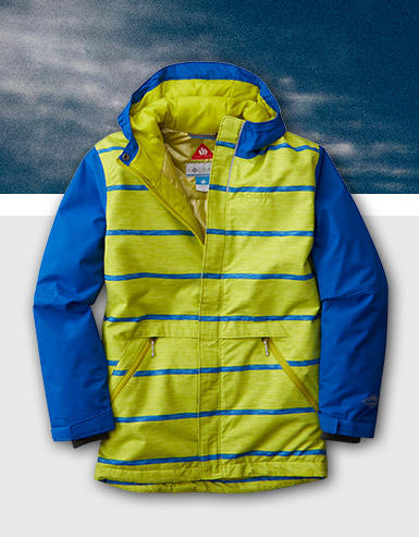 Youth Slope Star Jacket in neon yellow and blue.