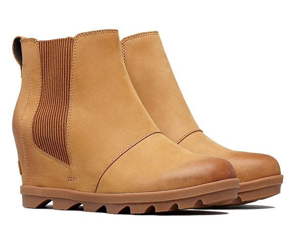 A pair of Joan Wedge Chelsea boots in camel brown