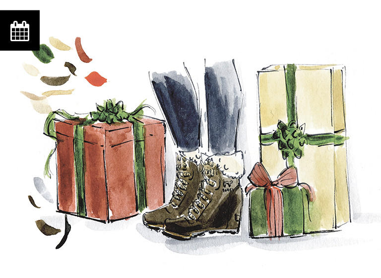 Illustration of boots next to presents.