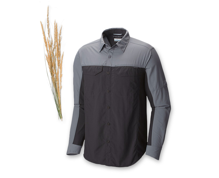 Men's long sleeve shirt with sprig of wheat.