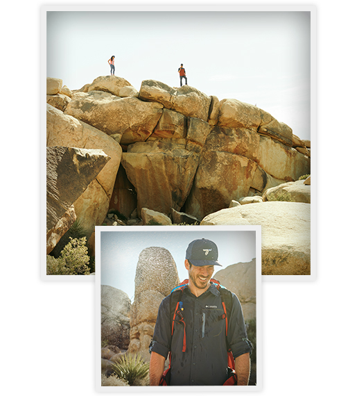 Two hikers on a rock, close-up of a hiker.