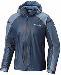 Men's OutDry Ex Gold Tech Shell Jacket in light and dark blue.