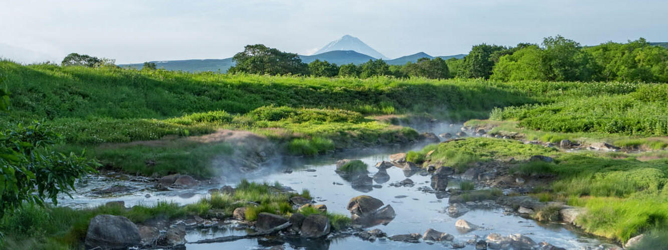 Video of Savan River journey; Image of a natural hot springs near the Savan River.