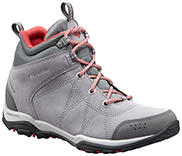 Women's Fire Venture Mid Waterproof Boot in gray and white with salmon accents.