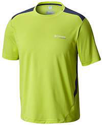 Men's Titan Ice Short Sleeve Shirt in yellow with dark blue trim.