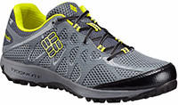 Men's Conspiracy Titanium OutDry Trail Shoe in gray with yellow trim.