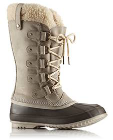 A profile view of mid-height boots.