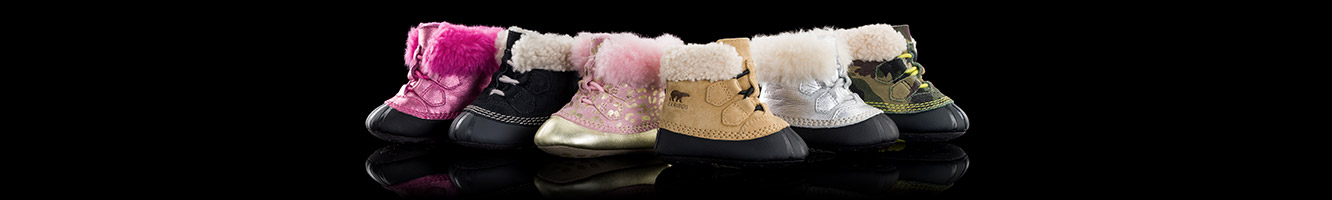 Six suede booties in various colors, lined with shearling.