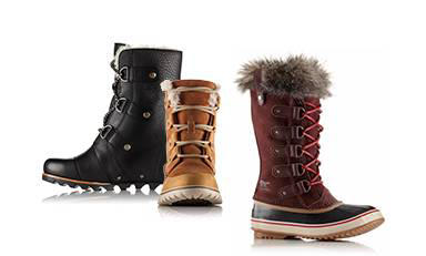 Close-up of black, tan, and reddish-brown Joan of Arctic boots.