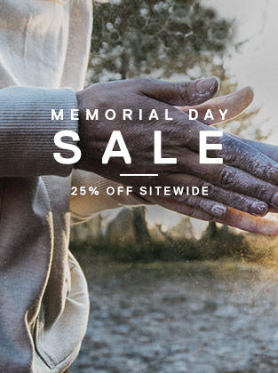 "A climber applying chalk to their hands. Text says ""Memorial Day Sale: 25% off sitewide."""