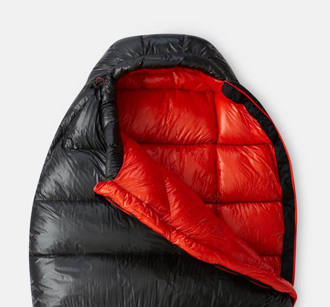 A black down mummy sleeping bag.