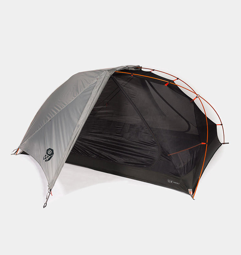 A gray and black Mountain Hardwear tent.