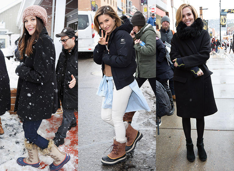 Park City trip is shown with different ways to wear your SOREL's.