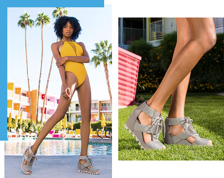 A woman standing by the pool in SOREL wedges.