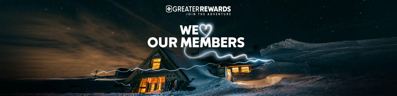 """We """"Heart"""" Our Members, Alpine cabin at night, a smoke heart."""