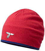 Close-up of a women's Titanium beanie in red.