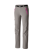 Close-up of women's Titanium pants in gray with pink accents.