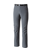 Close-up of men's Titanium pants in gray and black.