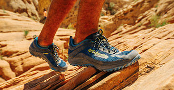 Hiking shoes in the desert.