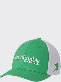 A green and while PFG hat.