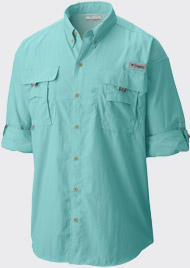A men's turquoise PFG Bahama II long sleeve shirt.