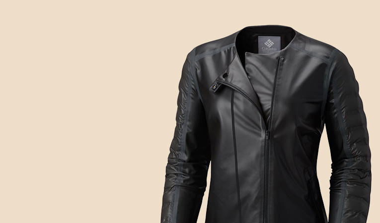 Close-up of a women's black Adera moto jacket.