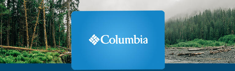 A blue Columbia gift card hovering on a forest scene.