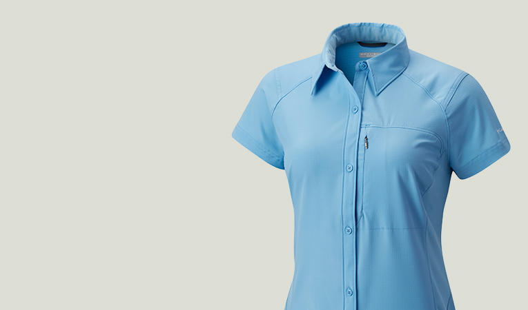 Close-up of a women's blue hiking shirt.