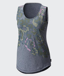 Close-up of a women's gray, green, and pink Camp Henry Floral Tank Top.