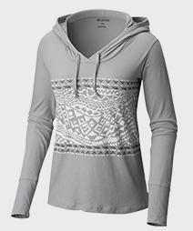 Close-up of a women's gray and white Sandy River Wave Hoodie.