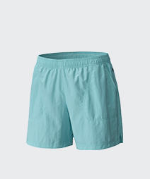 Close-up of women's turquoise Sandy River shorts.