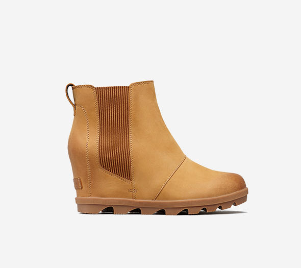 Profile view of a camel brown  Joan Wedge Chelsea boot
