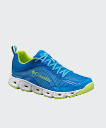 A blue and yellow mens drainmaker IV trail shoe.