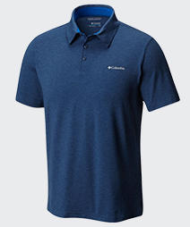 Close-up of a mens Tech Trail™ Polo shirt.