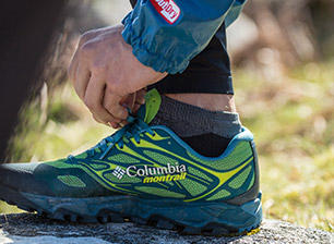 Close-up of a Columbia Montrail running shoe.