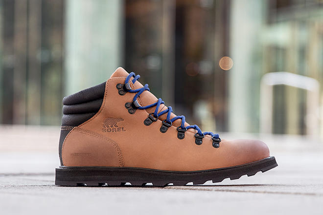 Close-up shot of a brown Madson Hiker boot in an urban setting